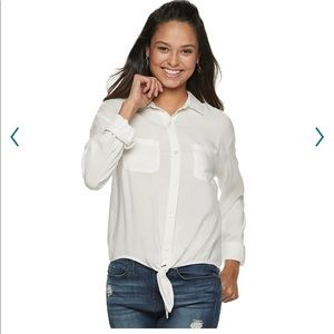 NWT white button down tie front top